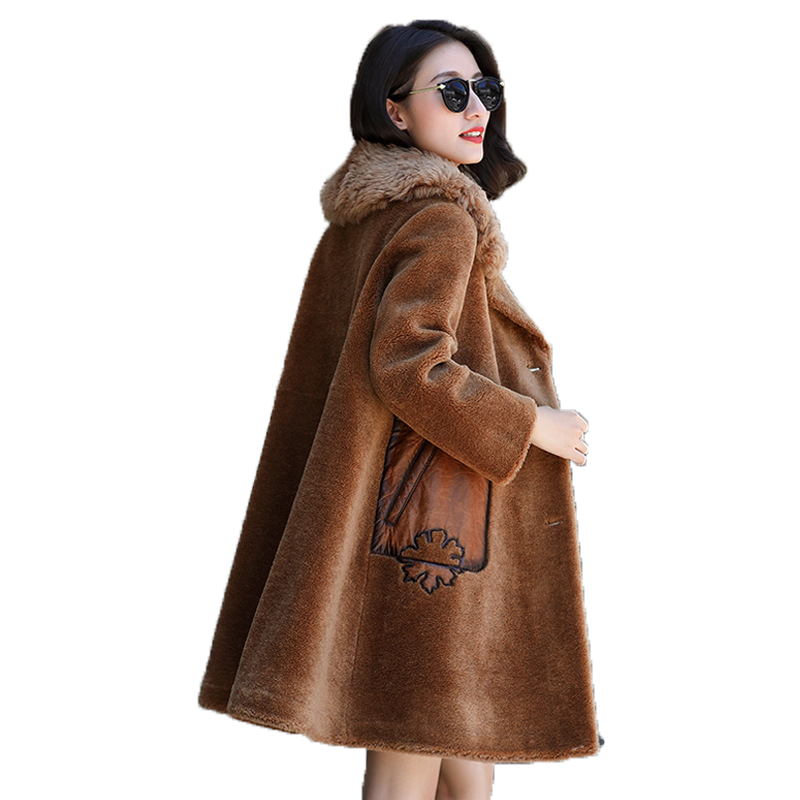Mouton Mouton De Fourrure D'hiver Veste Femmes Vêtements 2018 Laine Veste Agneau Col De Fourrure Coréenne Élégant En Daim Doublure Long Manteau ZT642