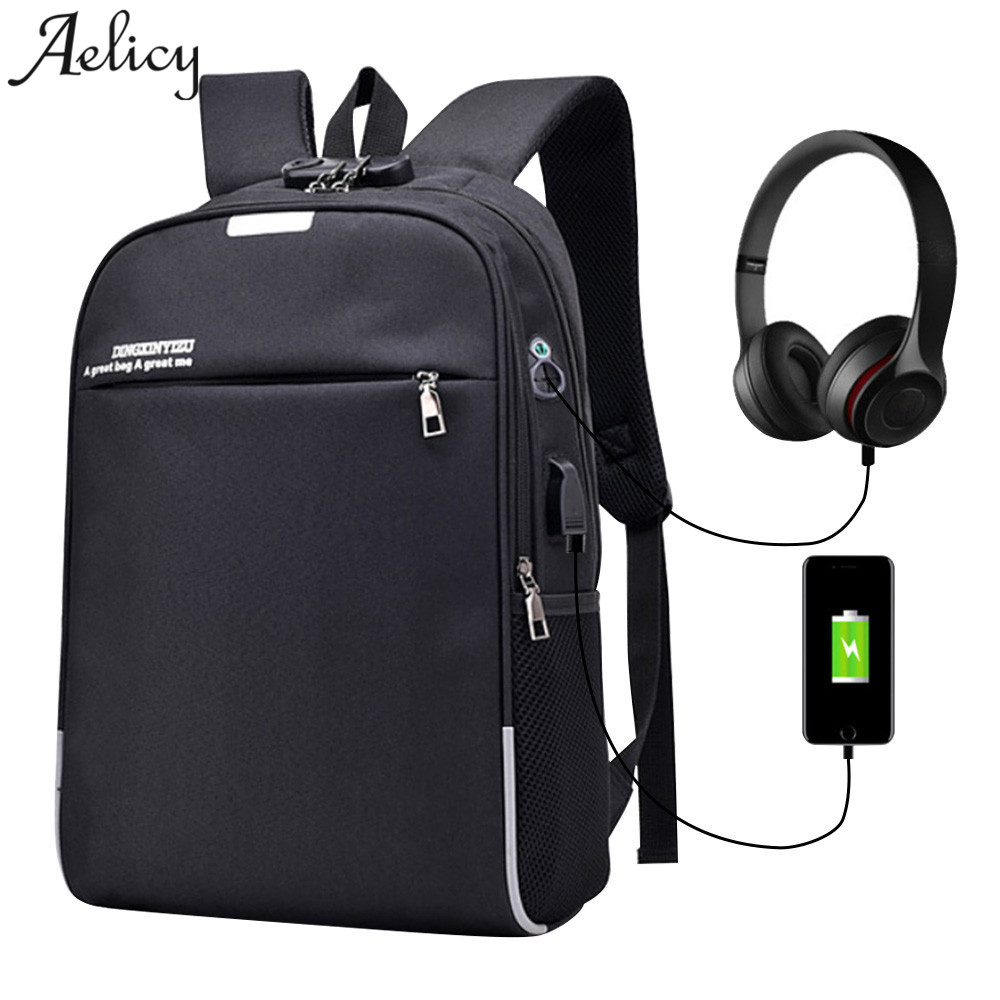 Aelicy Anti Theft Password Locks Men Backpacks Usb Charging Backpack With Headphone Plug Business Travel Backpack Bag Mochila