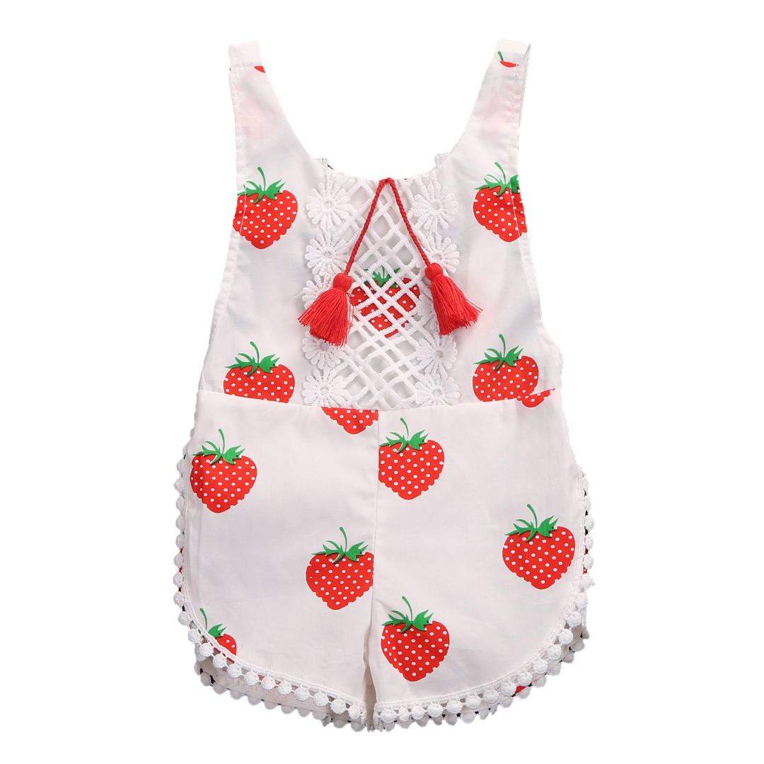 Kids Sunsuit Clothing Newborn Baby Girls Tassel Romper Clothes Strawberry Sleeveless Backless Halter Jumpsuit Outfits Toddler 2017 summer toddler kids girls striped baby romper off shoulder flare sleeve cotton clothes jumpsuit outfits sunsuit 0 4t