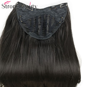 Image 4 - سترونغبيوتي طويل مستقيم الاصطناعية 3/4 الباروكات المرأة نصف باروكة شعر أسود/بني الحرارة موافق