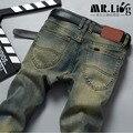 Hombre Pantalones Vaqueros Homens Calças Jeans Slim Fit Robin Calça Jeans Motociclista Mens Corredores Denim Magras Calças De Brim Homme 1293
