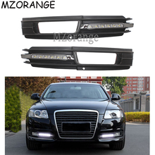 купить LED Daytime Running Light For Audi A6 A6L C6 2009 2010 2011 DRL Cover Front Fog Lamp Waterproof Car-styling Yellow Signal Light по цене 5642.18 рублей