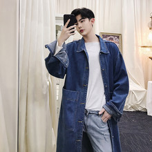 2018 Fall designer long denim trench coat men's loose wash knee-length outerwear M-XL!(China)