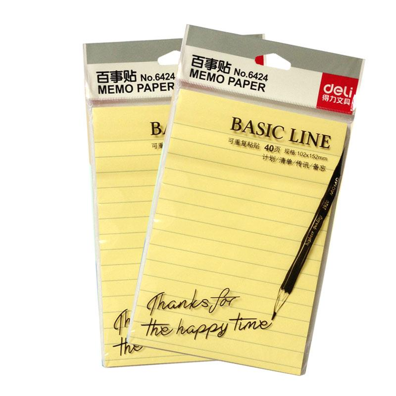 5 Packs x 40 Sheets Yellow Color Basic Line Memo Pads Self-Adhesive Sticky Notes 102x152mm Post It Deli 6424