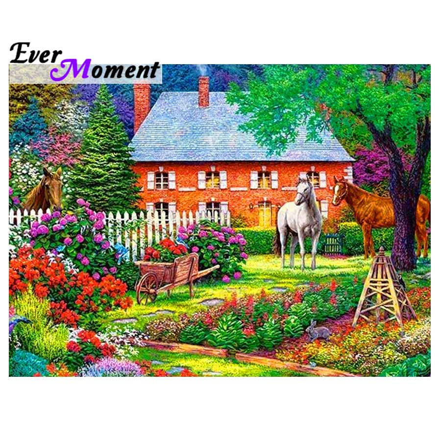 Ever Moment Diamond Painting Horse Farm Flower Cross Stitch Picture Of Rhinestone Diamond Embroidery 5D DIY Full Square 3F224Ever Moment Diamond Painting Horse Farm Flower Cross Stitch Picture Of Rhinestone Diamond Embroidery 5D DIY Full Square 3F224