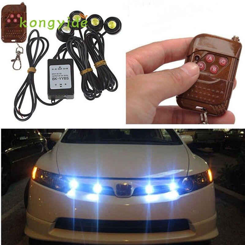 Auto 4in1 12 V Hawkeye LED coche de emergencia de luz estroboscópica luces DRL de Control remoto inalámbrico Kit de FEB16 coche covecar-stylingled estilo de coche