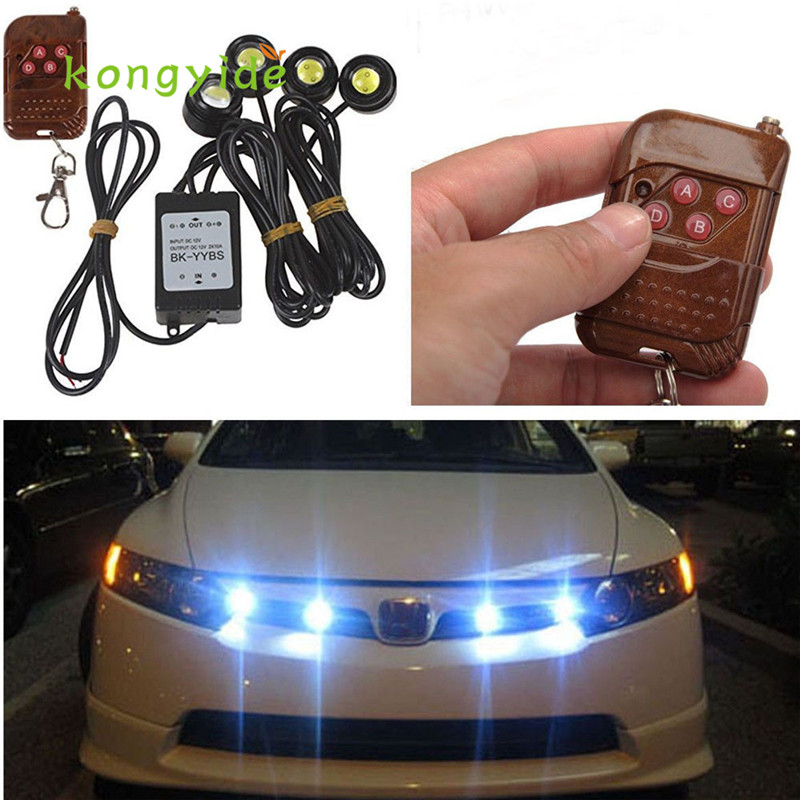 Auto 4in1 12V Hawkeye LED Car Emergency Strobe Lights DRL Wireless Remote Control Kit FEB16 car covecar-stylingled car styling 4in1 daytime running light 12v 12w led car emergency strobe lights drl wireless remote control kit car accessories universal