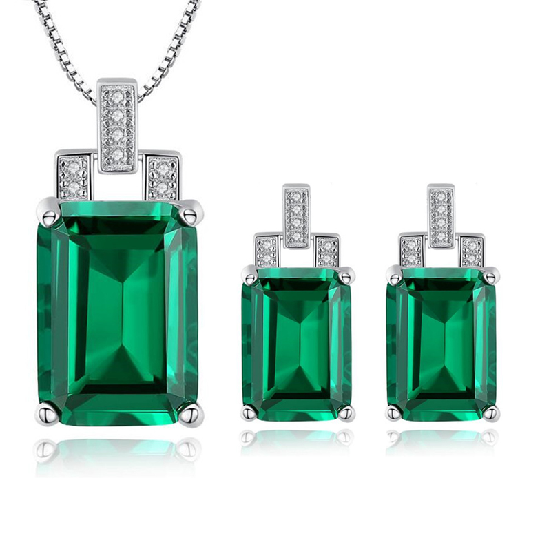 New Hot 925 Sterling Silver Emerald Pendant Necklace Clip Earrings Jewelry Set With Silver 45cm Box Chain Fine Jewelry For Women brand silver 925 jewelry green hope emerald cut 925 sterling silver earrings emerald clip earrings for women with stones