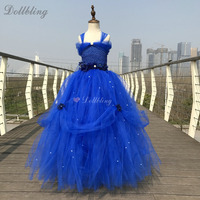 Navy Blue Long Tail Fluffy Tulle ball gown wedding Flower Cinderella costum princess my 1st Birthday Performing Party Dresses