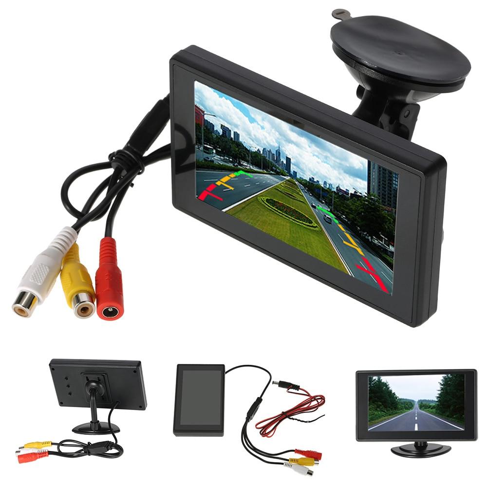"""4.3 """"дюймовый автомобильный Мониторы TFT ЖК-дисплей Экран цифровой Цвет заднего вида Мониторы Поддержка VCD DVD GPS Камера с 2 видео входы + присоске"""