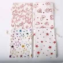 20pcs cotton linen beam pocket gilding pattern polyester linen bag cute drawstring gift bag handmade bag 12.5 * 17.5cm