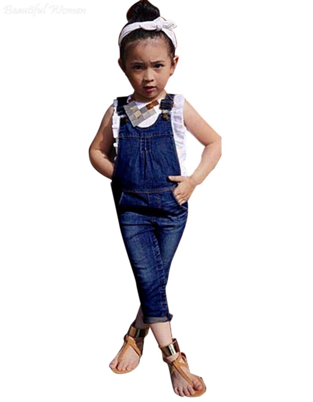New Fashion Children Kids Girls Clothing Sets Denim Jumpsuit+T Shirts Gilrls Suit Jean Long ...
