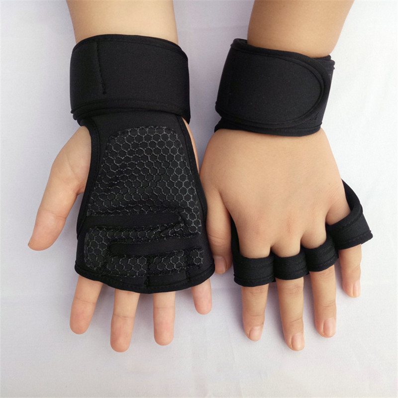 Weight Lifting Gloves Wrist Support Fitness Cross Training Hand Guards Powerlifting Silicone Padding Non-slip Breathable Gloves