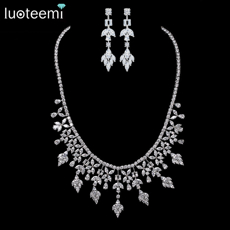 LUOTEEMI New Luxury White Gold-Color Multi Crystal Bridal Jewelry For Brides Necklace Wedding Party Accessories For WomenLUOTEEMI New Luxury White Gold-Color Multi Crystal Bridal Jewelry For Brides Necklace Wedding Party Accessories For Women
