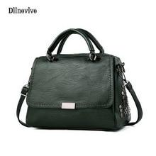 DIINOVIVO Punk Style Women Leather Handbags Brand Designer Female Bags Totes Bag Rivet Shoulder Messenger WHDV0142
