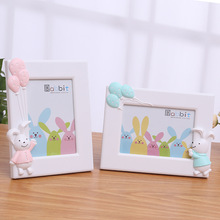 Rabbit Photo Frame  Desktop Picture Frames Wooden Cute Smile Animal For Baby Kid Home Decoration