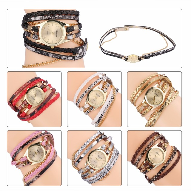 Women Bracelet Watch Relojes Mujer Vintage Braided Weave Wrap Quartz PU Leather
