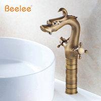 Beelee Free Shipping 12 Dragon Design Bathroom Faucet Dual Handle Antique Brass Basin Mixer Tap DG 02A