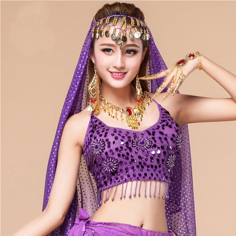 Belly Bra Women Belly Dance Twinkling Sequin Sexy Beaded Fringe Belly Dance Top Bra Hanging Coin Bollywood Oriental Dance Tops