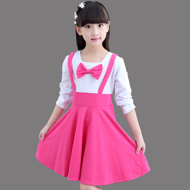 Kids Dresses For 2017 Spring Autumn Long Sleeve Girls Dress Cotton Princess Party Dresses Kids Bow Vest Dresses 4 6 8 10 12 Year girls princess party dresses 4 long sleeve striped kids dresses for girls 6 preppy style bottoming dress 8 ball gowns 10 12years