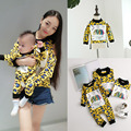 0-6T Spring New Family Fitted T-Shirts Mother Daughter Clothes Leopard Fashion Baby Boy Girls Bodysuit Newborn Rompers