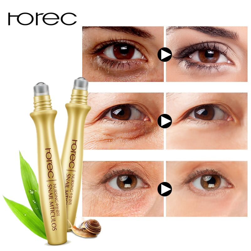 ROREC Eye Serum  Anti-Wrinkle Snail Essence For Eyes Anti Puffiness Against Bags Hyaluronic Acid Solution Cream