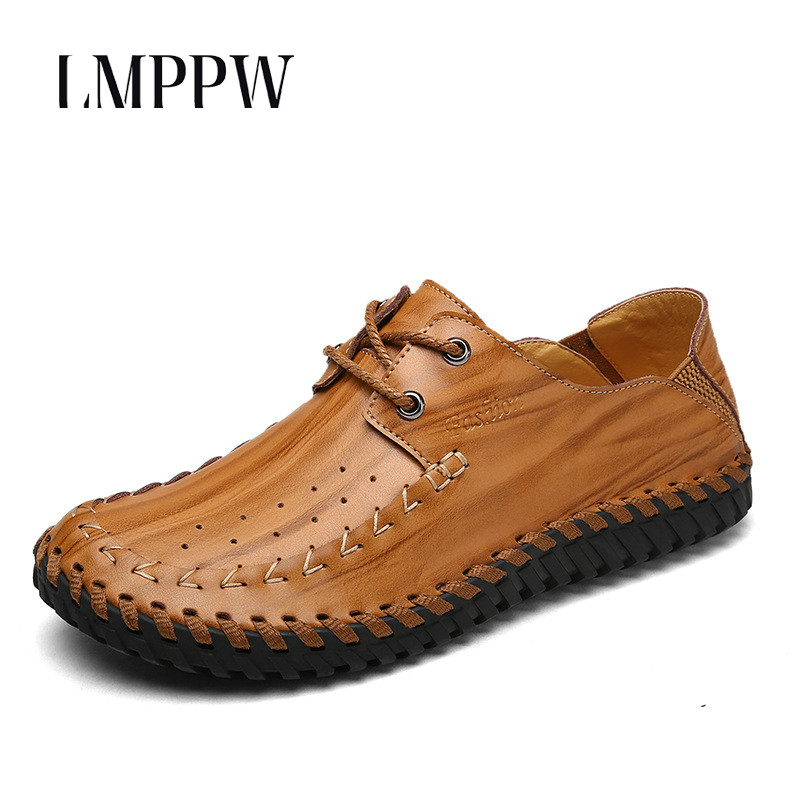 British Fashion Business Casual Men's Shoes Genuine Leather Flats Shoes Breathable Men Handmade Boat Shoes Black Brown Yellow 8 zdrd new fashion genuine leather men business casual shoes british low top lace up suede leather mens shoes brown red men shoes