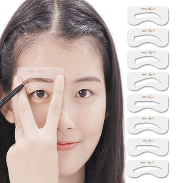 8pcs Fashion Diy Eyebrow Shaping Stencils Grooming Kit Template