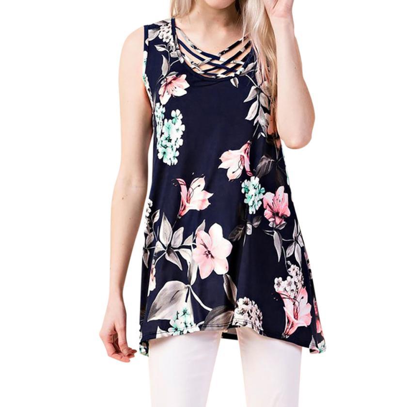 2019 Summer Bandage Tank Tops T-shirt Sexy Women Print V-Neck Sleeveless Straps Vest Shirt 2018 Beach wear White Shirt Blusa