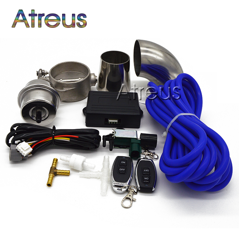 1Set Car Exhaust Control Valve Set With Vacuum Actuator CUTOUT 2.5/63mm Pipe CLOSE STYLE with Wireless Remote Controller exhaust control valve set with vacuum actuator cutout 89mm pipe close style with wireless remote controller ep cut89 cl dz href