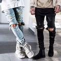 Mens Ripped Flacos Elásticos Delgados Rectos Denim Fit Biker Jeans Pantalones Largos Pantalones Con Estilo Slim Fit Straight Jeans