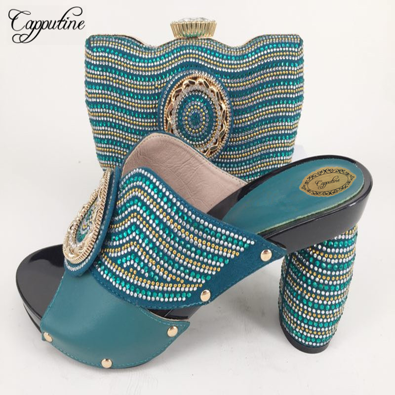 Capputine New Arrival Italian PU Crystal Woman Shoes And Bag Set African Summer High Heels Shoes And Bag For Party Size 37-43 capputine italian fashion design woman shoes and bag set european rhinestone high heels shoes and bag set for wedding dress g40