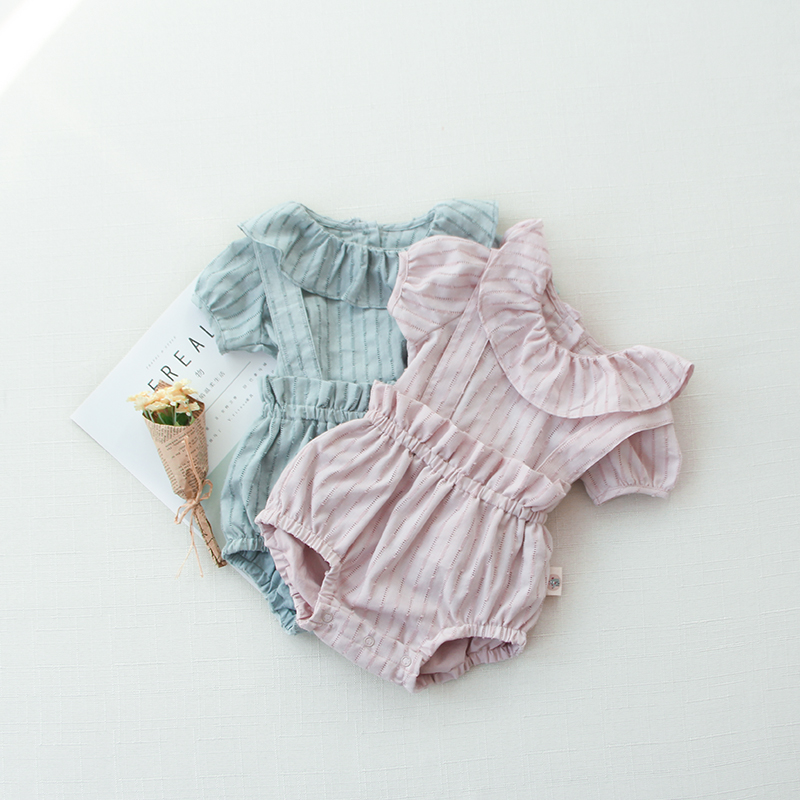 mikistory Summer Newborns Clothing Short Sleeves Ruffles Striped Sets Elastic Waist Shorts Bloomers Baby Girls Cotton Tops Suite