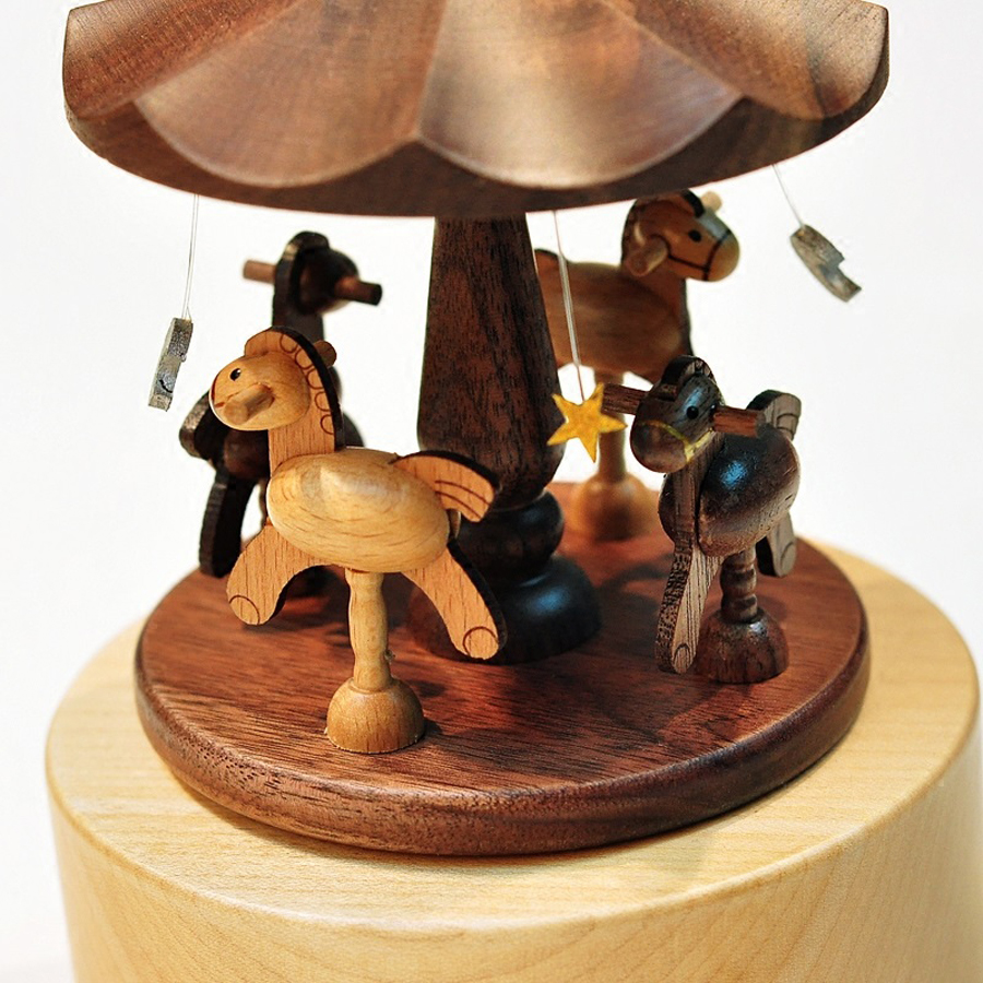 Creative Wooden Carousel Mini Music Box Solid Wood Merry-go-round - Տնային դեկոր - Լուսանկար 2