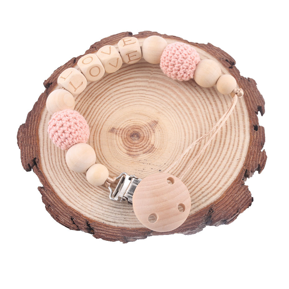 Beech Wooden Pacifier Chains Personalized Name Handmade DIY Teething Chain Baby Teether Dummy Clip Crochet Bead Children Product