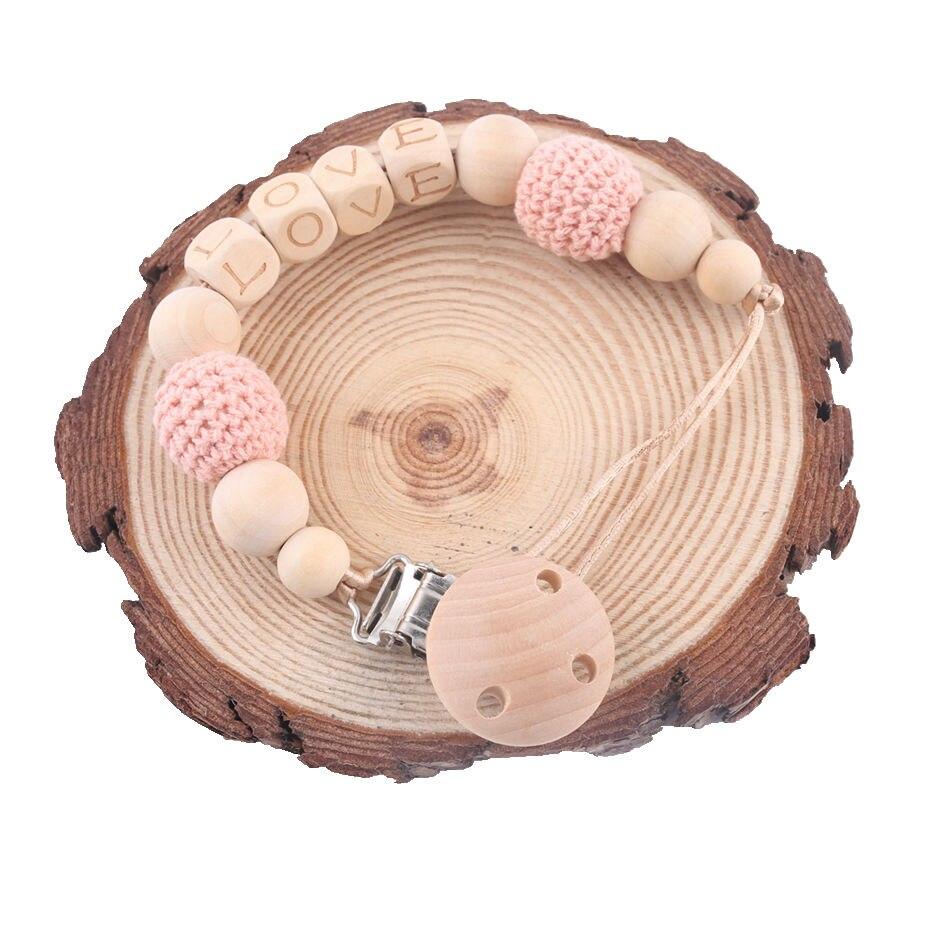 Buche Holz Schnuller Ketten Personalisierte Name Handgemachte DIY Zahnen Kette Baby Beißring Dummy Clip Häkeln Perle Kinder Produkt
