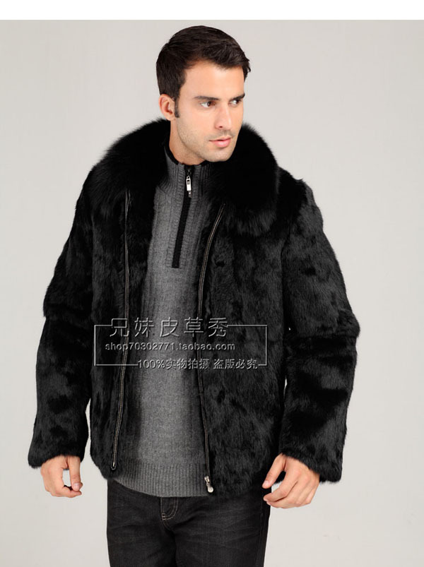 S/3Xl Uomini Casual Giacca di Pelliccia di Visone Nero Plus Size Cuoio Erba Pelliccia di volpe Collare Slim Cappotti Inverno Caldo Cappotti di Pelliccia Giacche J116
