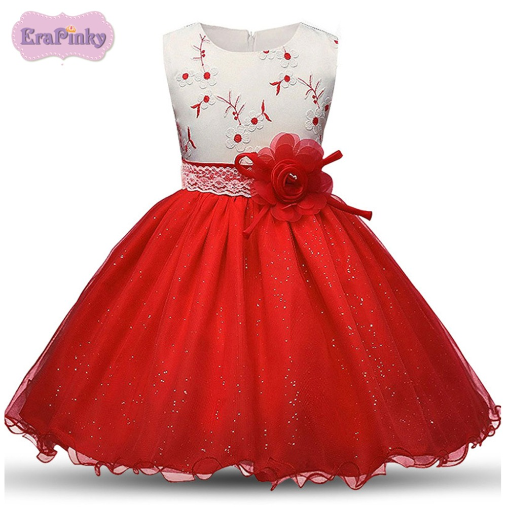 Erapinky 2018 Summer Children\'s Party Dress With Bow Flower Red ...