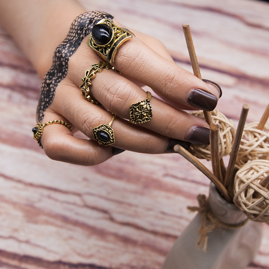 Flower Steampunk Ring-Sets Finger-Rings Stone Turkish Vintage Women Black for Anillos