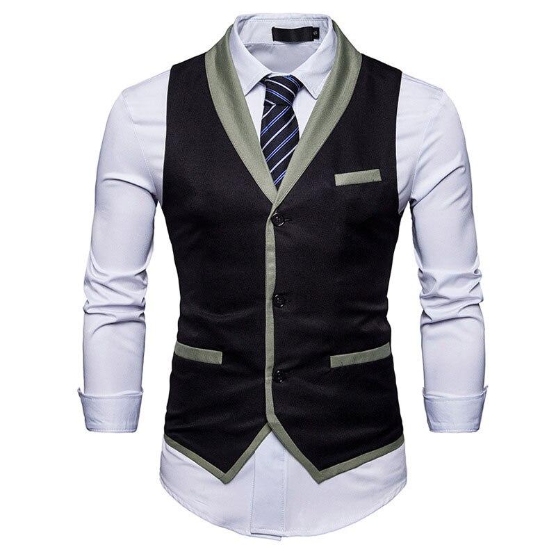 100% QualitäT Marke Herren Weste Anzug 2018 Fashion Slim Fit Einreiher Weste Männer Geschäfts Hochzeit Colete Masculino Chaleco Hombre ZuverläSsige Leistung