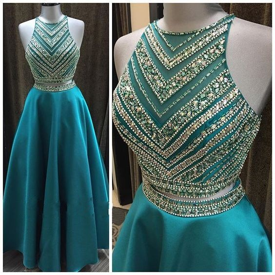 8f6676348f6 Luxury Crystal Beadings Two Pieces Prom Dresses Long Floor Length 2 Pieces  Prom Gowns Sparkly Teal Blue Graduation Dresses