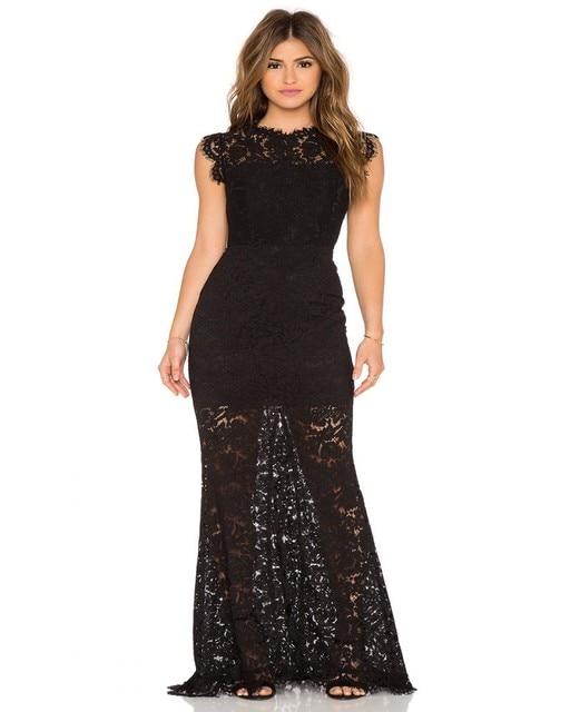 bc41ee46a3ee € 136.59 |Aliexpress.com: Comprar 2016 de noche largo negro Sexy vestidos  sin mangas falda de encaje transparente de noche vestidos del partido de ...