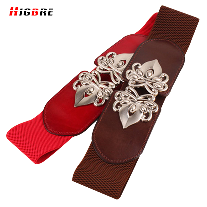 HIGBRE 2019 Genuine Leather Elastic Waistband Wide Belt For Women Fashion Belts Cummerbunds Female For Dress Decoration Metal