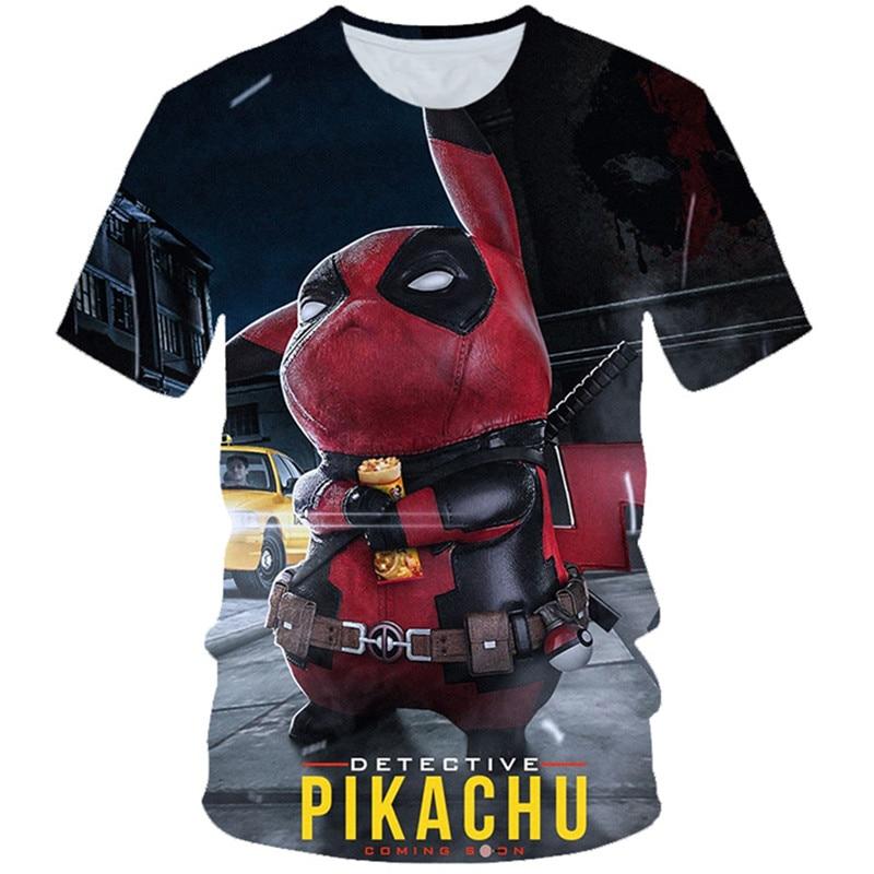 2019 Summer Kids 3D T-shirt Boys Girl Pokemon Detective Pikachu Anime Deadpool Print T shirt Children Fashion Tshirts 4-20 Years(China)