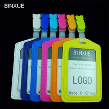 BINXUE Cover Card & ID Holders,Work card identification tag badge Multi color plastic clip Vertical section  bag Customizable