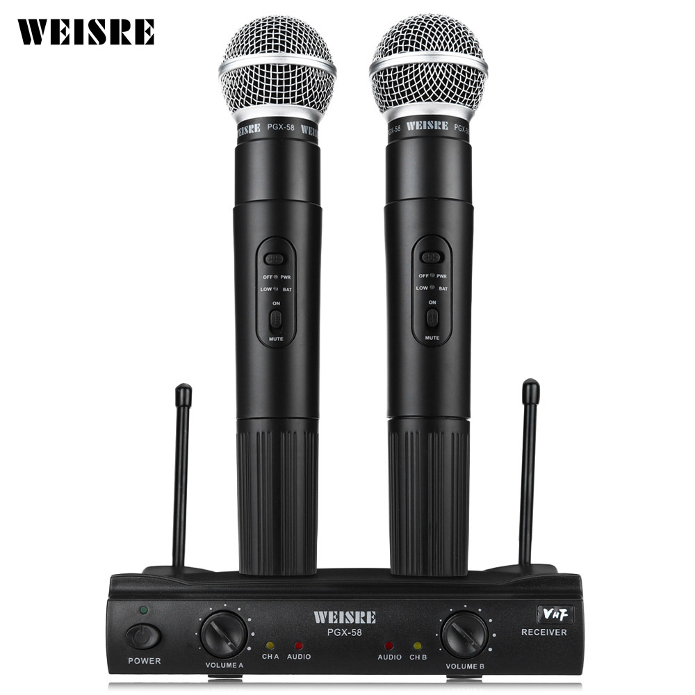 цена на WEISRE PGX58 VHF Dual Wireless Microphone System Dual Handheld 2 X Mic Cordless Receiver Microphones For Karaoke Party KTV