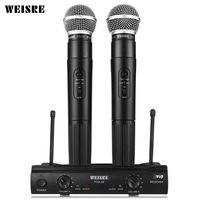 WEISRE PGX58 VHF Dual Wireless Microphone System Dual Handheld 2 X Mic Cordless Receiver Microphones For Karaoke Party KTV