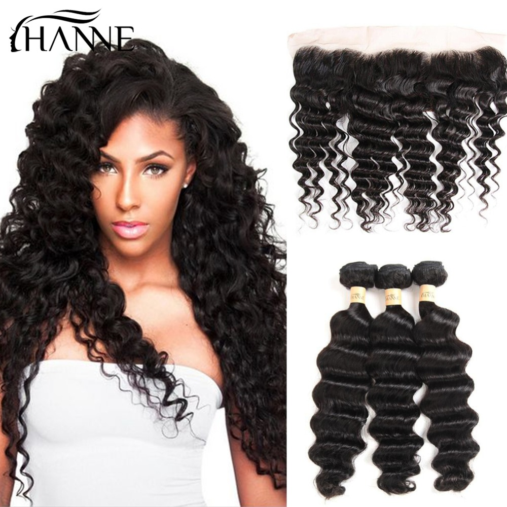 HANNE Hair Deep Wave Bundles with Pre Plucked Lace Frontal 3 Bundles Deep Curly Human Hair Extensions with 13x4 Closure Frontal