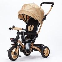 BOSO 4 In 1 Baby Tricycle One Key Fold Baby Cart Rubber Wheel Baby Walker Steel
