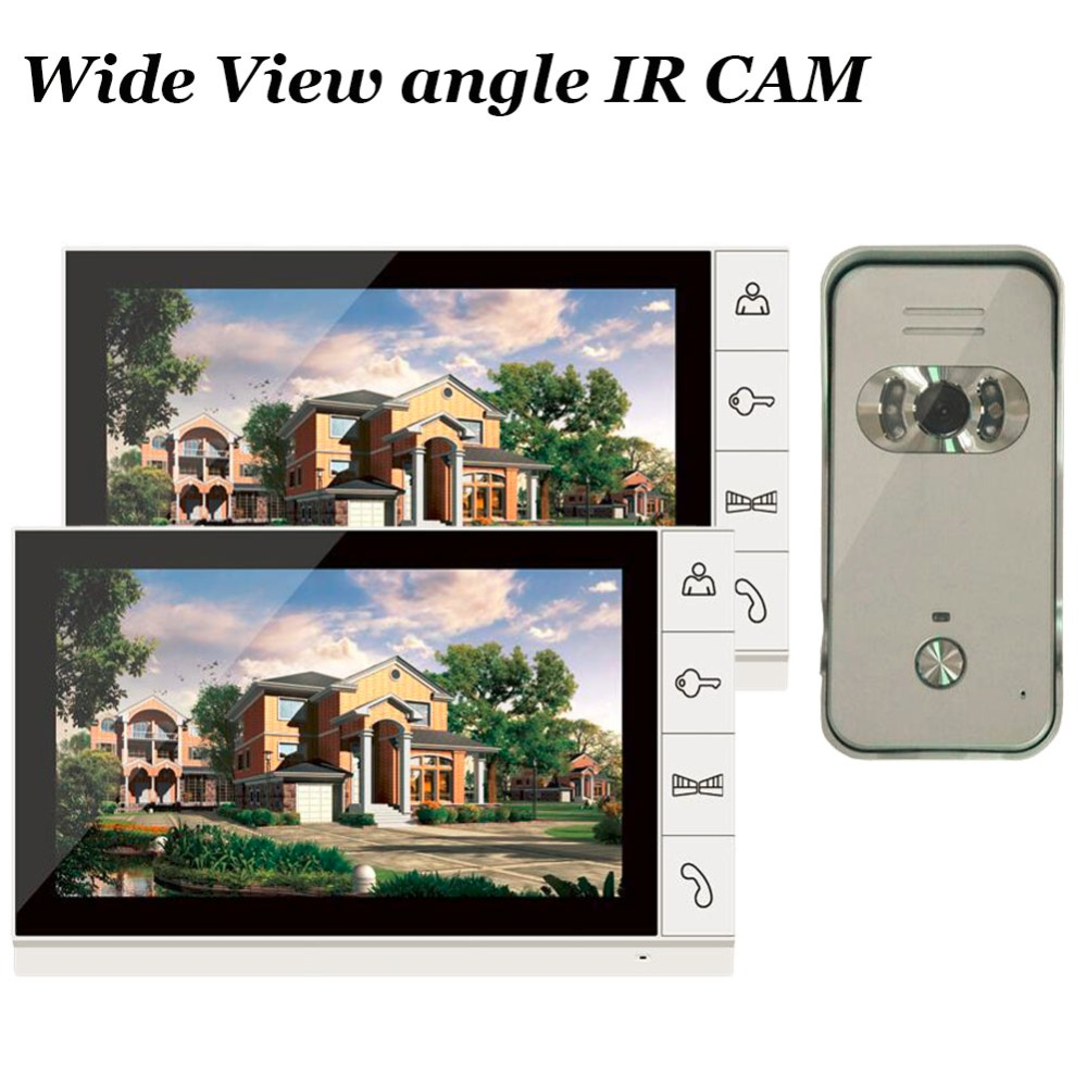 Home 9 inch 2 Monitor Color Video Door Phone Intercom System Night Vision Wide Angle Waterproof IR Camera for Apartment Security tmezon 4 inch tft color monitor 1200tvl camera video door phone intercom security speaker system waterproof ir night vision 4v1